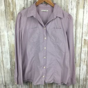 Banana Republic cotton long sleeve button purple